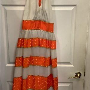 Vintage White/Orange Polka Dot Gold Trim Dress